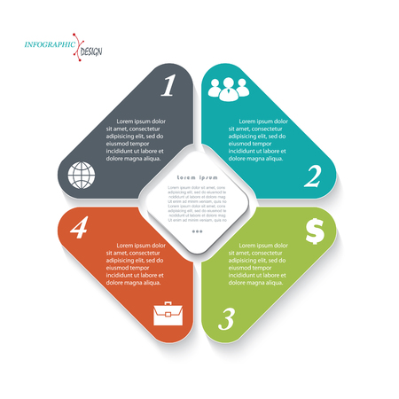 ビジネスのプロジェクトまたはプレゼンテーションのインフォ グラフィック テンプレートです。ベクトル図は web デザイン ワークフローまたはグラ
