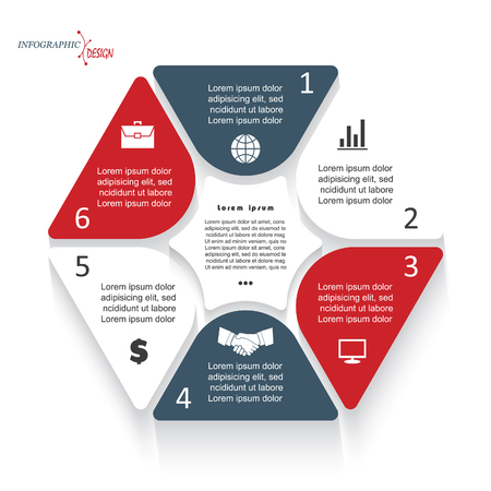 segment: Infographic template with six segments for business project or presentation. Vector illustration can be used for web design, workflow or graphic layout, diagram, education