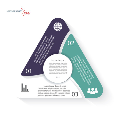 levels: Triangle infographic Vector template can be used for presentation,  chart, web design, numbers options. Business concept with three options