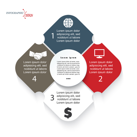 program: Modern template infographic for business project or presentation with 4 segments can be used for web design, workflow or graphic layout, diagram, education Illustration