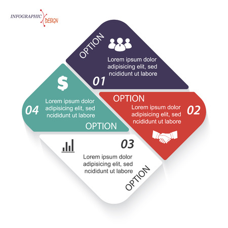 segment: Infographic vector template for business project or presentation with 4 segments can be used for web design, workflow or graphic layout, diagram, education