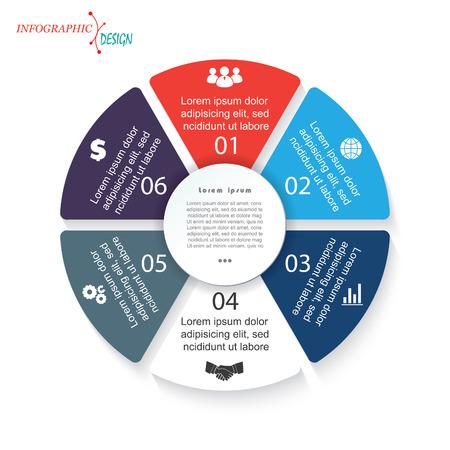 ビジネス プロジェクトやプレゼンテーションのための 6 セグメントを持つインフォ グラフィック テンプレート。ベクトル図は web デザイン ワーク