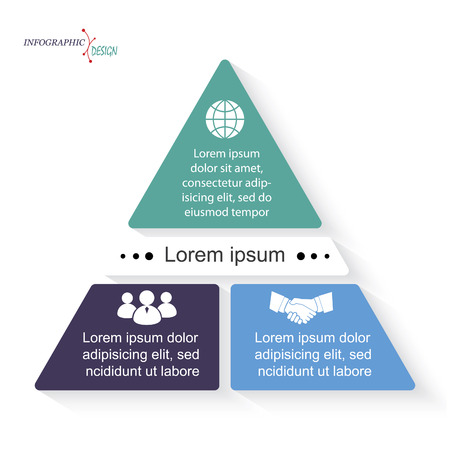 ベクトル三角形インフォ グラフィック テンプレートは、ビジネス プレゼンテーション、グラフ、web デザイン、番号オプションを使用できます。  イラスト・ベクター素材