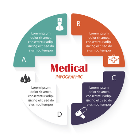 polyclinic: Vector medical infographic template with four segments can be used for presentation,  chart, statistics, informations