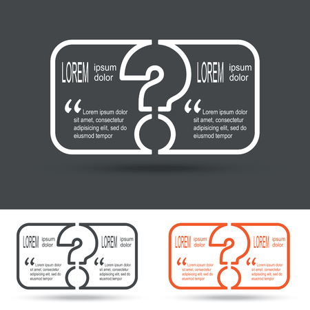 questionably: Creative question mark icon with paper frame for your text. FAQ sign. Help symbol. Vector illustration.