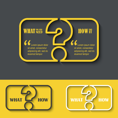 answer: Question mark icon with paper frame for your text. FAQ sign. Creative vector illustration. Illustration