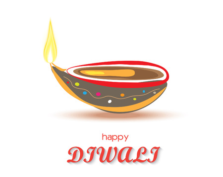 diwali: Happy Diwali diya card design. Vector illustration Illustration