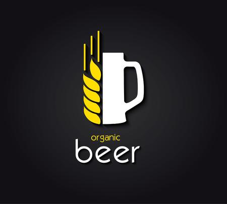 cebada: diseño creativo con jarra de cerveza y la cebada. cerveza orgánica.