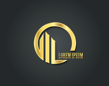 logo batiment: Creative design template vecteur logo. symbole d'or