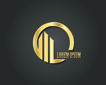 logotipo de construccion: vector logo plantilla de diseño creativo. símbolo de oro