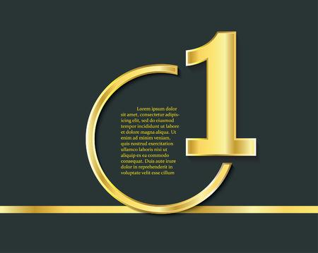 Symbool van de eerste plaats. Nummer 1, gouden logo, award symbool. Kampioen, winnaar en leiderschapsteken.