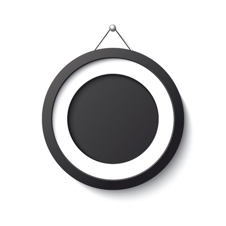 black circle: Realistic black frame circle form on white background.