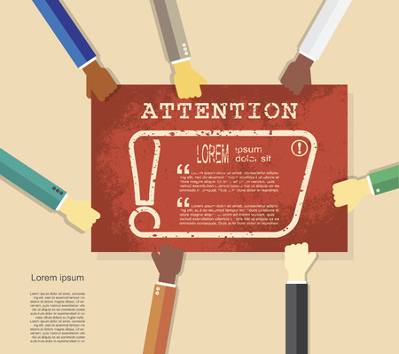 emphasis: Hands holding poster with exclamation mark. Attention sign icon. Hazard warning symbol, vector illustration Illustration