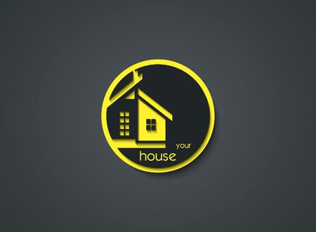 丸いボタンの創造的な家のアイコン。ベクトル図