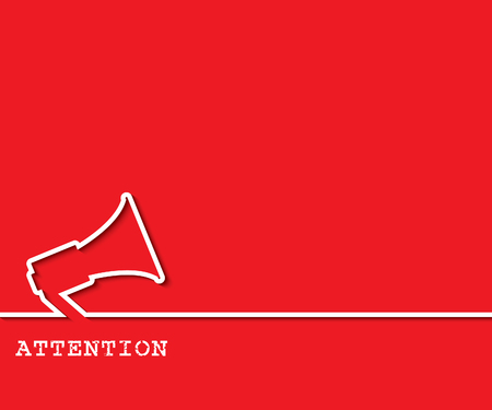 poner atencion: fondo de la atención con megáfono. ilustración vectorial
