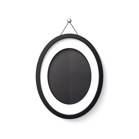 elipse: forma realista elipse marco negro sobre fondo blanco. Vectores