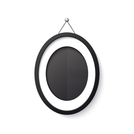 ellipse: Realistic black frame ellipse form on white background. Illustration