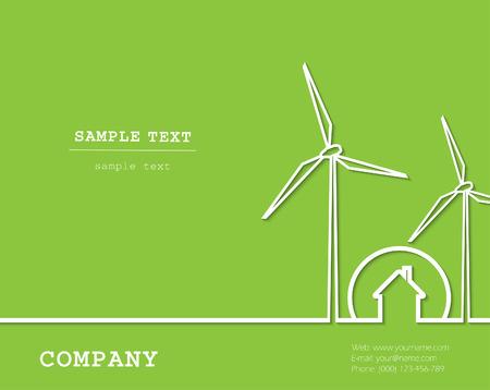 創造的なベクトルと風車、家します。(再生、緑) の再生可能エネルギーの概念。
