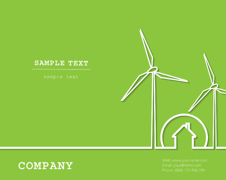 house energy: Creative vector with wind turbines, house. Renewable (regenerative, green) energy concept.