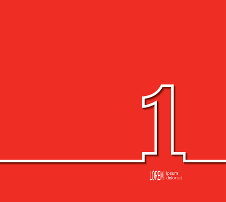 fierce competition: First place symbol. White number on red background. Vector illustration