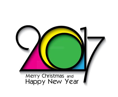 2017 年、グリーティング カード、チラシ、招待状、ポスター、パンフレット、バナー、カレンダーの白い背景の上の創造的なデザイン