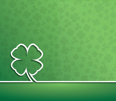 irish background: Happy St. Patricks Day Irish four leaf lucky clover. Vector background Illustration