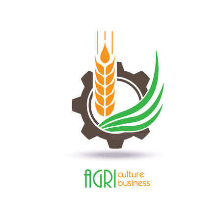 Landbouw Logo Template Design. Pictogram, teken of symbool. landbouwbedrijf, natuur, ecologie. vector illustratie
