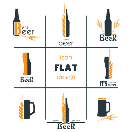Vactor set flat beer icon design. Sign or Symbol. Template