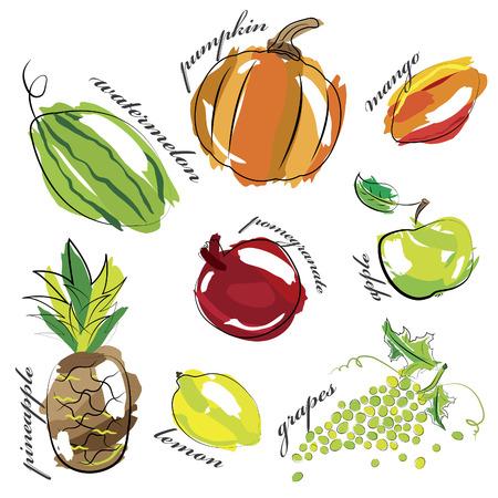 zest: Fruit and vegetables set icons isolated on white background.