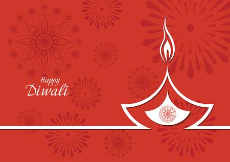 diya: Creative design of burning diwali diya for greeting card