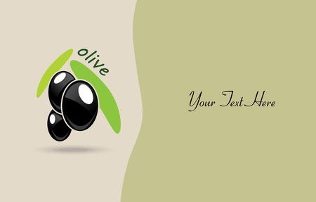 Ripe black olives with green leafs. poster or label design.