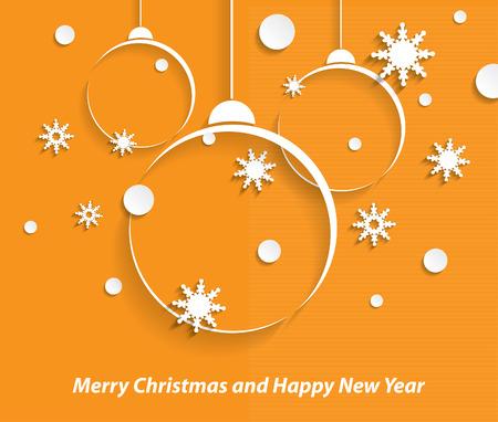 Navidad y año nuevo fondo con bolas de navidad y copos de nieve Vectores