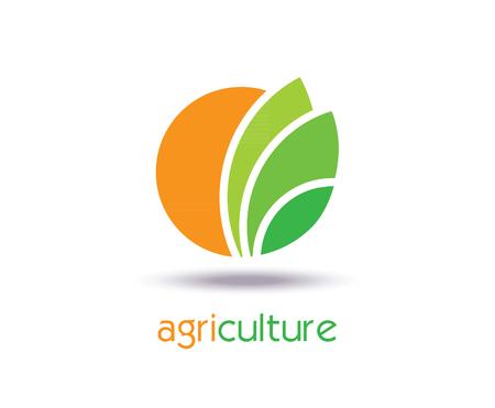Agricultura Logo plantilla de diseño. Icono, señal o símbolo. granja, naturaleza, ecología. Vector de diseño plano Logos