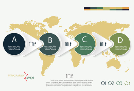 transfer: Vector infographic elements with 4 options and world map. Template for diagram, graph, presentation. Four parts, steps or processes.