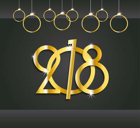greating card: 2018 New Year or Christmas dark background creative design gold numbers  for your greetings card, flyers, invitation, brochure, calendar