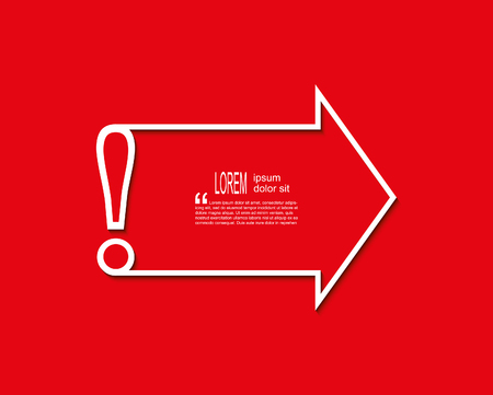 Attention sign icon with arrow and place for text on red background. Exclamation mark template.