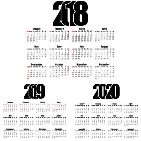 Calendar 2018,2019, 2020 year flat design, simple style. Week starts from sunday. Creative flat   numbers of year design