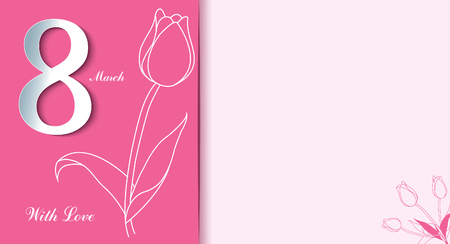 8 March. Happy Women's Day. Trendy Mother's Day. Greeting card with tulips. Spring Seasonal holiday.