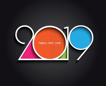 Diseño creativo de fondo de feliz año nuevo o Navidad 2019 para su tarjeta de felicitación, folletos, invitaciones, carteles, folletos, pancartas, calendario