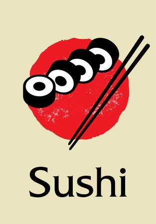 Vector sushi icon illustration Icon of Asian Street Fast Food Bar or Shop, Sushi, Maki, Menu. Flat design style
