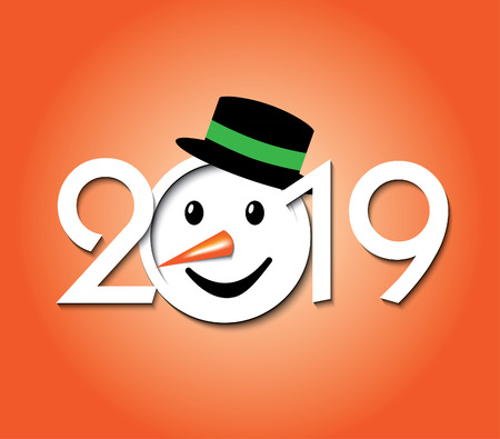 Snowman with numbers of 2019 year. Creative design greeting card Merry Christmas and Happy New Year