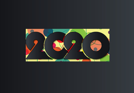 2020 Happy New Year or Christmas dark background creative design for your greetings card, flyers, invitation, posters, brochure, banners, calendar