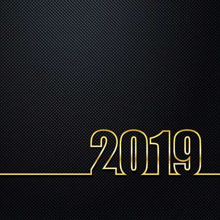 2019 Black Background New Year or Christmas  creative greeting card design Golden numbers