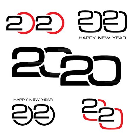 2020 number creative design for greeting card, can be used for flyers, invitation, posters, brochure, banners, calendar. Set of 5 elements
