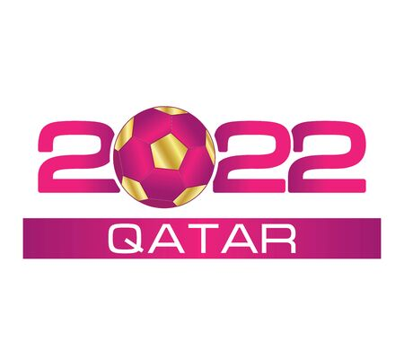 2022 with Soccer ball icon. Championship. Flat illustration in on white background.