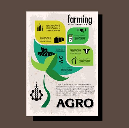 Agriculture brochure design template for agricultural company, agro conference, forum, event, exhibition 일러스트