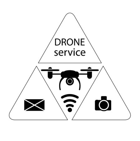 Drone service. Icon drone. Photography services, mail and parcel delivery