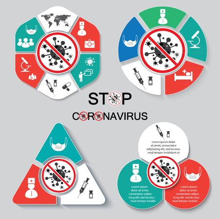 Coronavirus infographics vector. CoV-2019 prevention. Icons of face mask, vaccination, treatment, definition of infection, laboratory, doctor, world map.