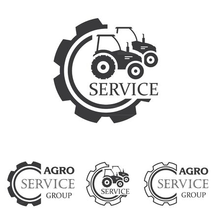 Agro service icon element design. Sign or Symbol design for industrial company or agriculture company. Farm, tractor, service, farming. 일러스트