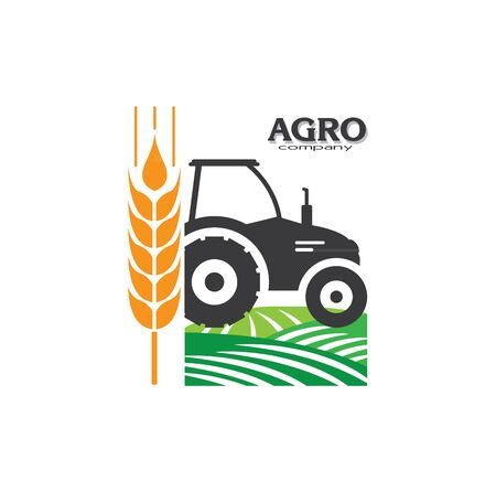 Agro company icon element design. Sign or Symbol design for industrial company or agriculture company. Farm. 일러스트
